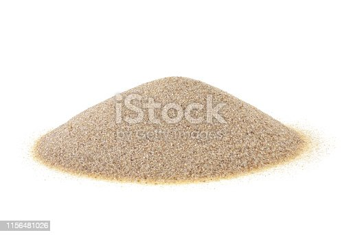 istock Pile of sand isolated on a white background 1156481026