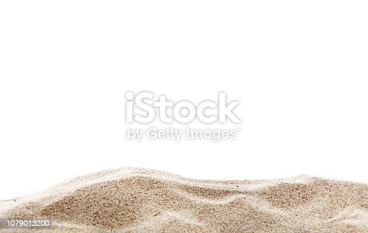 istock Pile of sand, isolated on white background. 1079013200