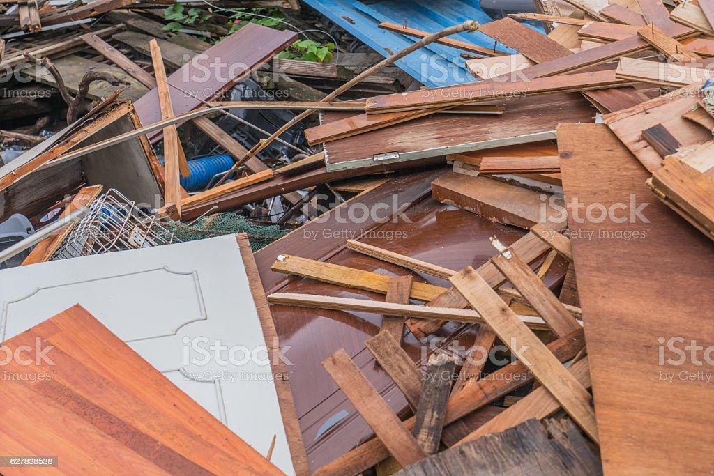 Pile of scrap metal and wood stock photo