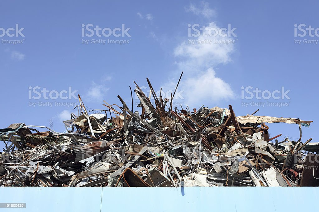 Pile of scrap metal stock photo