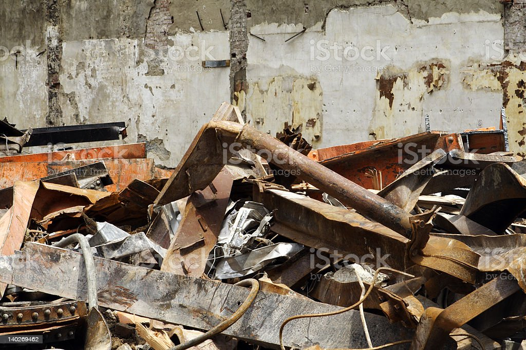 Pile of Scrap Metal Wood Debris Left from Building Demolition royalty-free stock photo