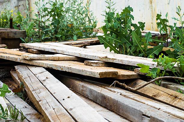 Pile of scrap wood stock photo
