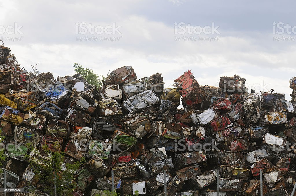 Pile of scrapped automobiles stock photo