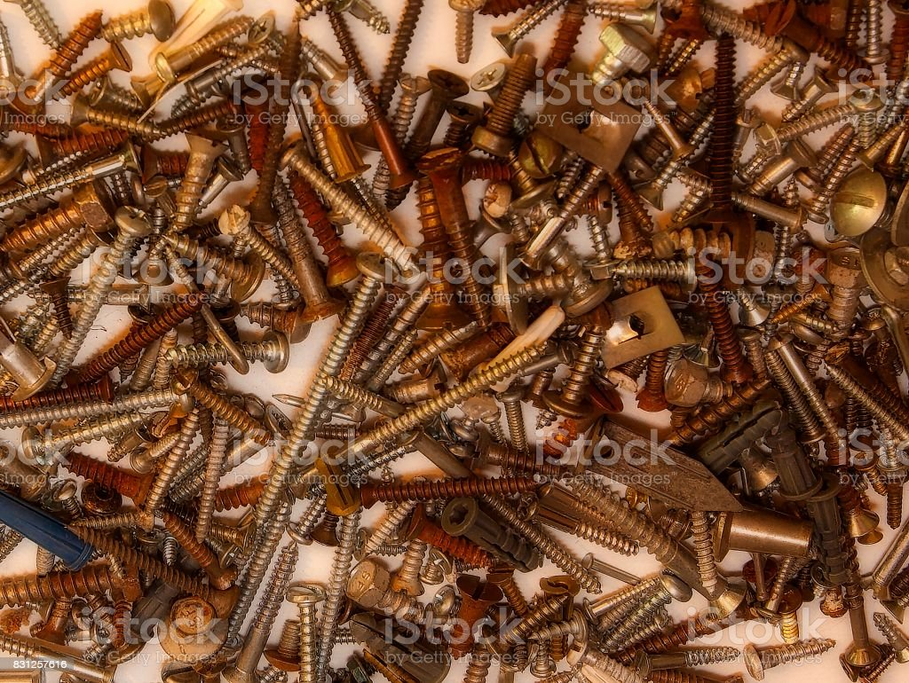 Pile of Screws stock photo