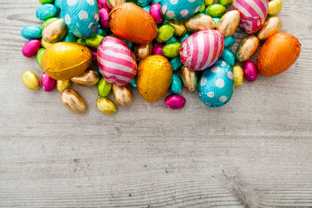 Pile of several chocolate mini Easter eggs stock photo