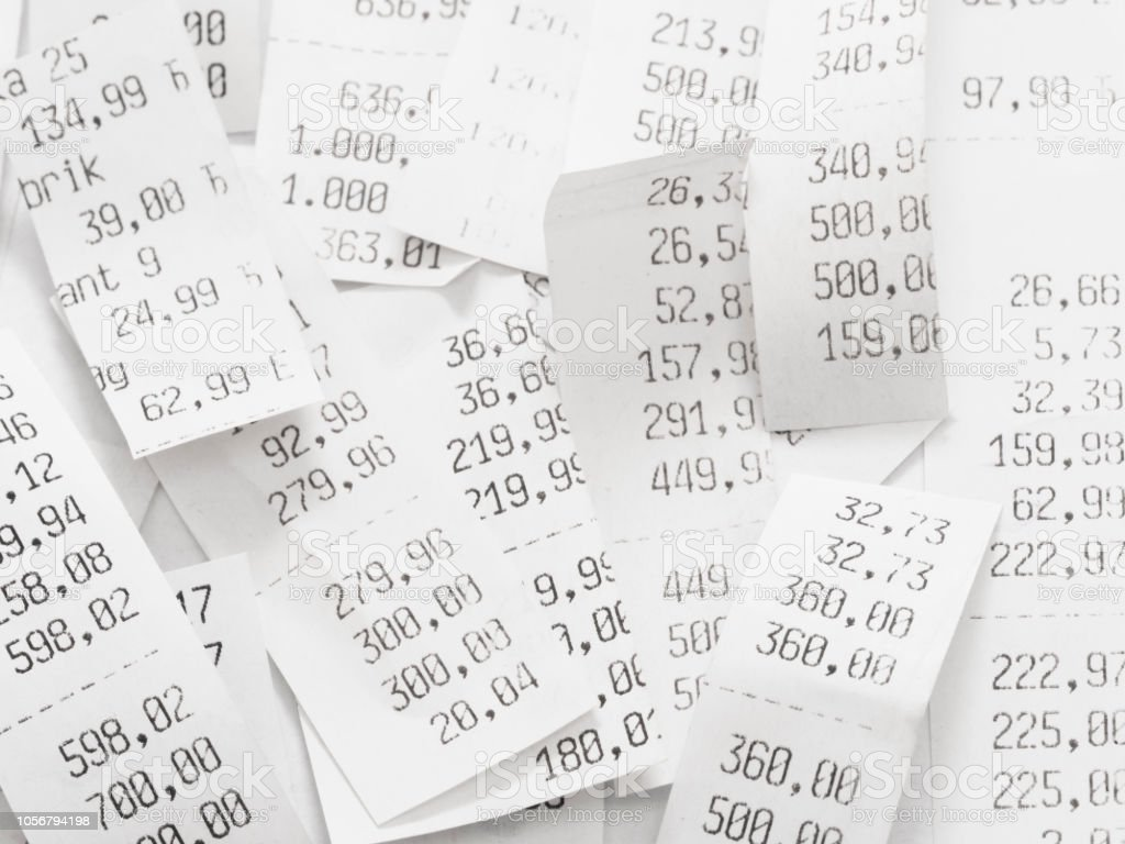 pile of shopping receipts costs stock photo