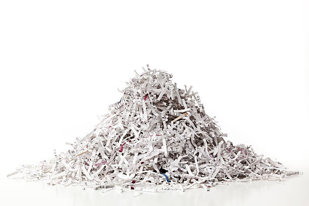 pile of shredded paper, full frame, horizontal. - shredded paper stock photos and pictures