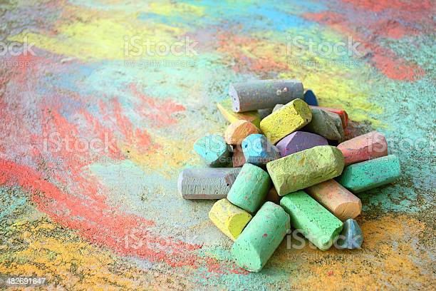 Pile Of Sidewalk Chalk Stock Photo - Download Image Now
