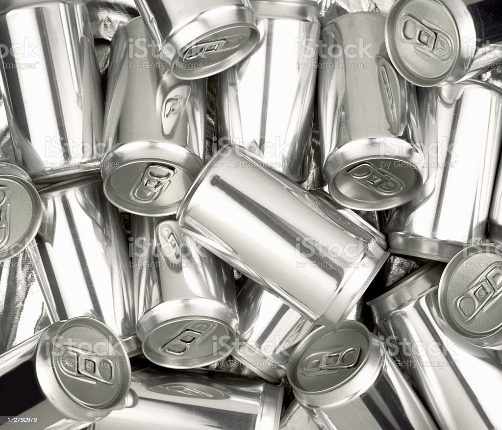 Pile of Silver aluminum soda cans without labels stock photo