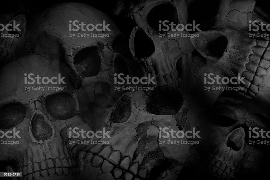 Haufen von Totenköpfen Hintergrund – Foto