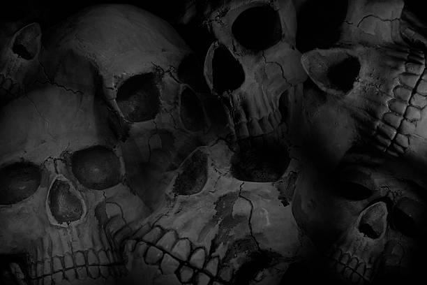 Pile of skulls background stock photo
