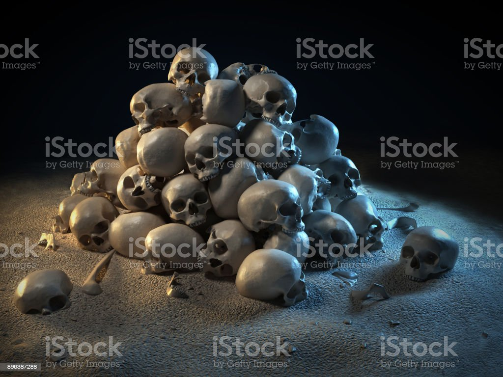 Pile of skulls in the dark 3d illustration stock photo