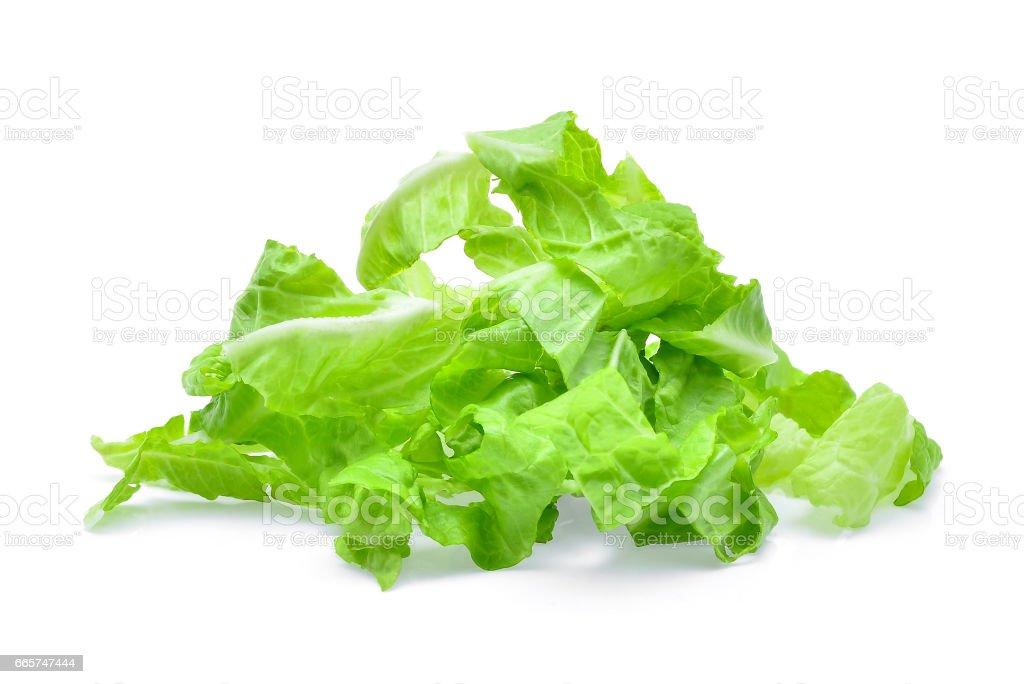 pile of slice fresh baby cos,lettuce isolated on white background stock photo