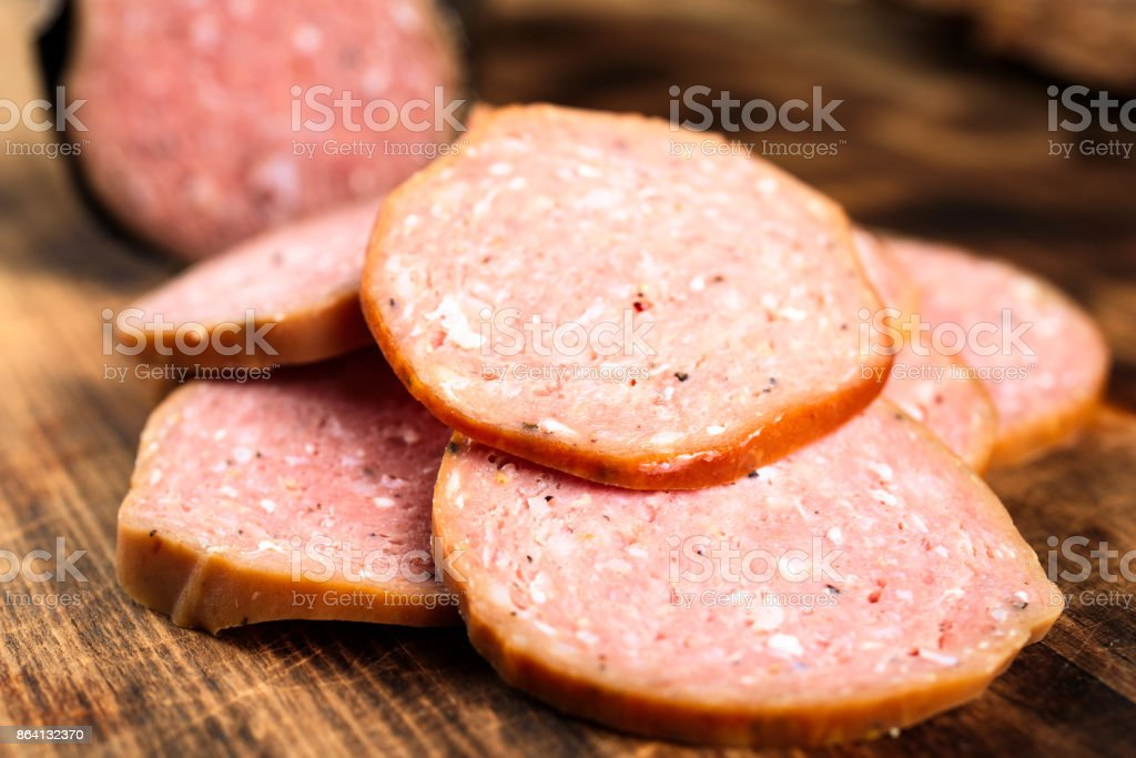 Pile of sliced sausage royalty-free stock photo