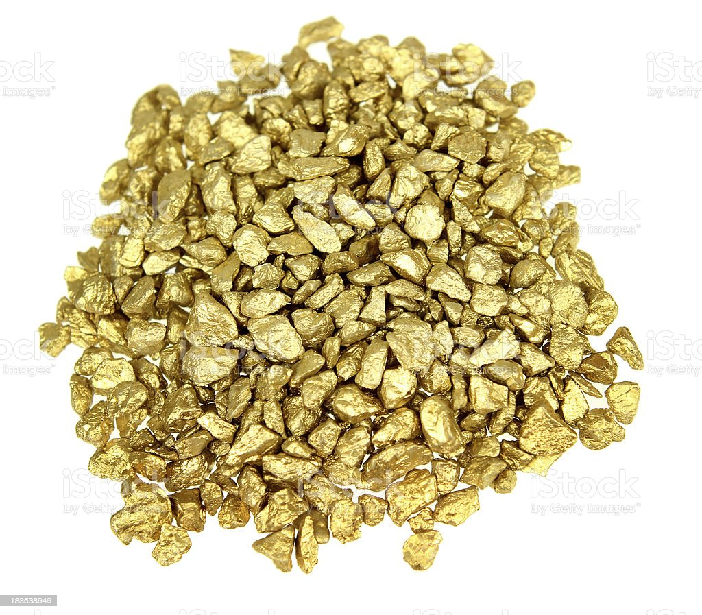 A pile of small and medium gold nuggets royalty-free stock photo