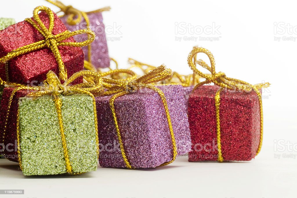 Pile of Small christmas tree present decorations royalty-free stock photo