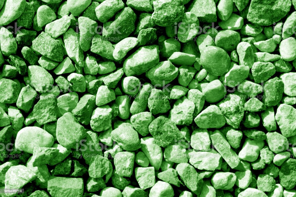 Pile of small gravel stones in green tone zbiór zdjęć royalty-free