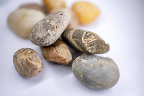 pile of small rocks front stock photo