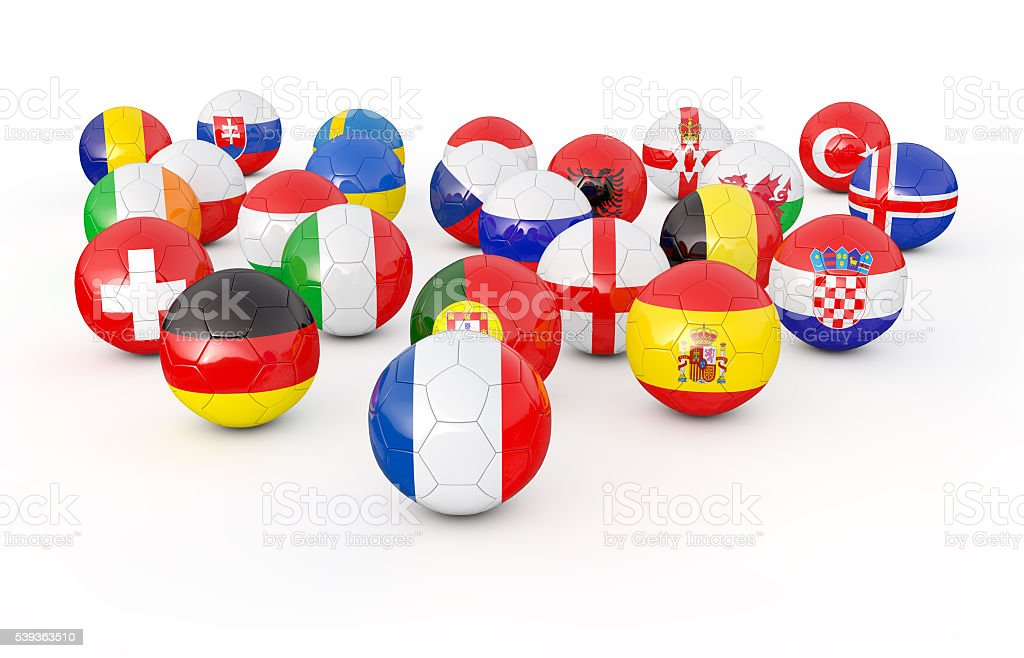 Pila de balones de fútbol ilustración 3D - foto de stock