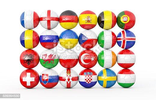 istock Pile of soccer balls 3D illustration 539364530
