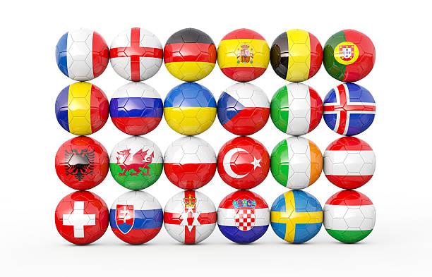 pile of soccer balls 3d illustration - football portugal flag bildbanksfoton och bilder
