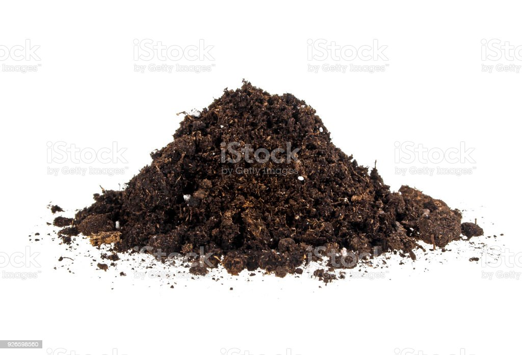 Pile of soil isolated on a white background stock photo