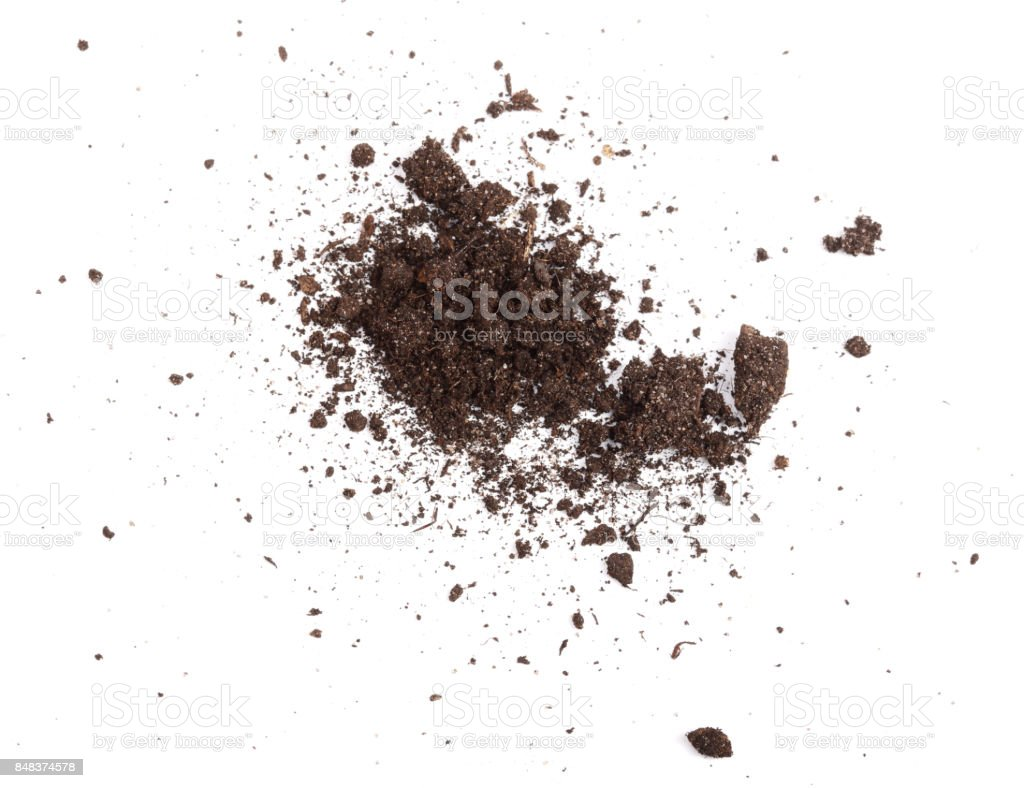 Pile of soil isolated on white background, top view stock photo