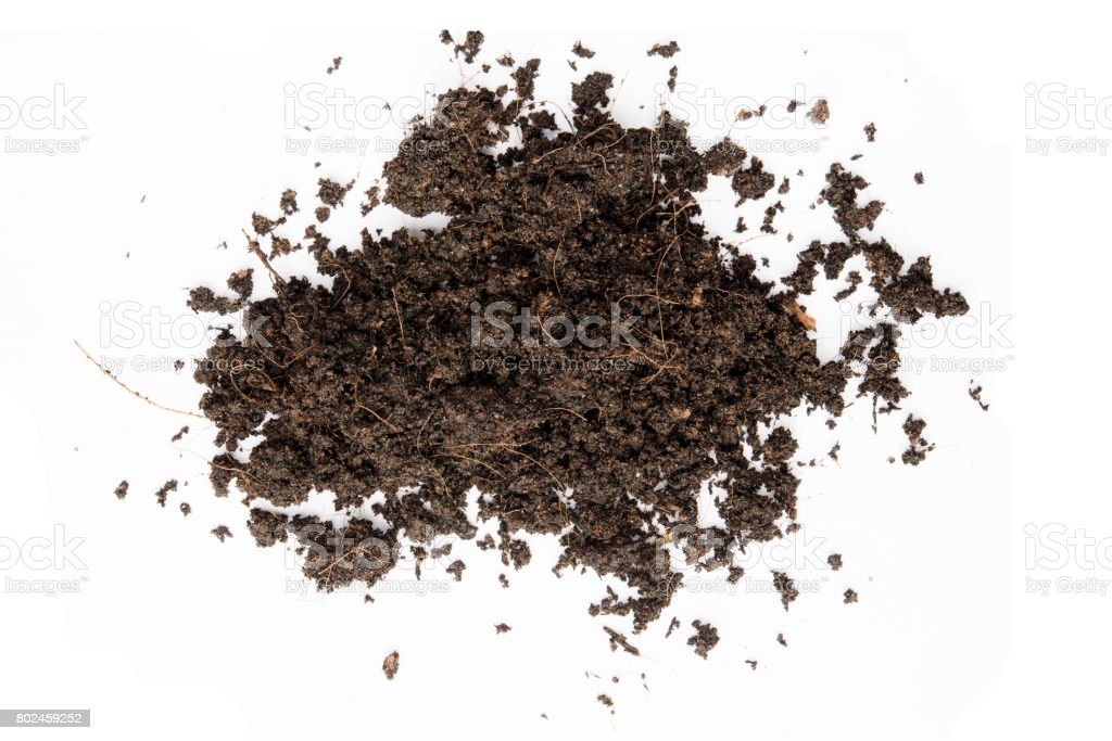 Pile of soil on isolated white background stock photo