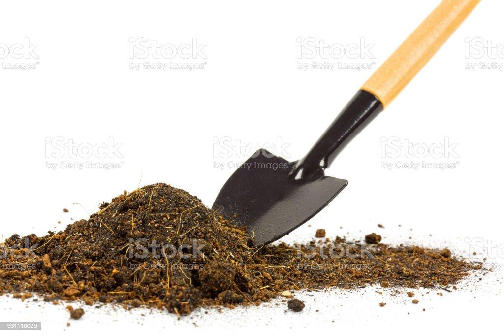 Küçük Bahçe küreği araçları ile toprak yığını - Royalty-free Ahşap Stok görsel