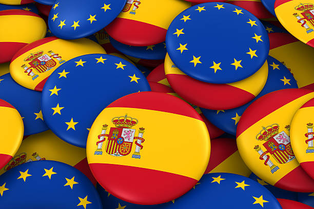 Royalty free spain flag on badges background pictures images and spain flag on badges background pictures images and stock photos voltagebd Gallery