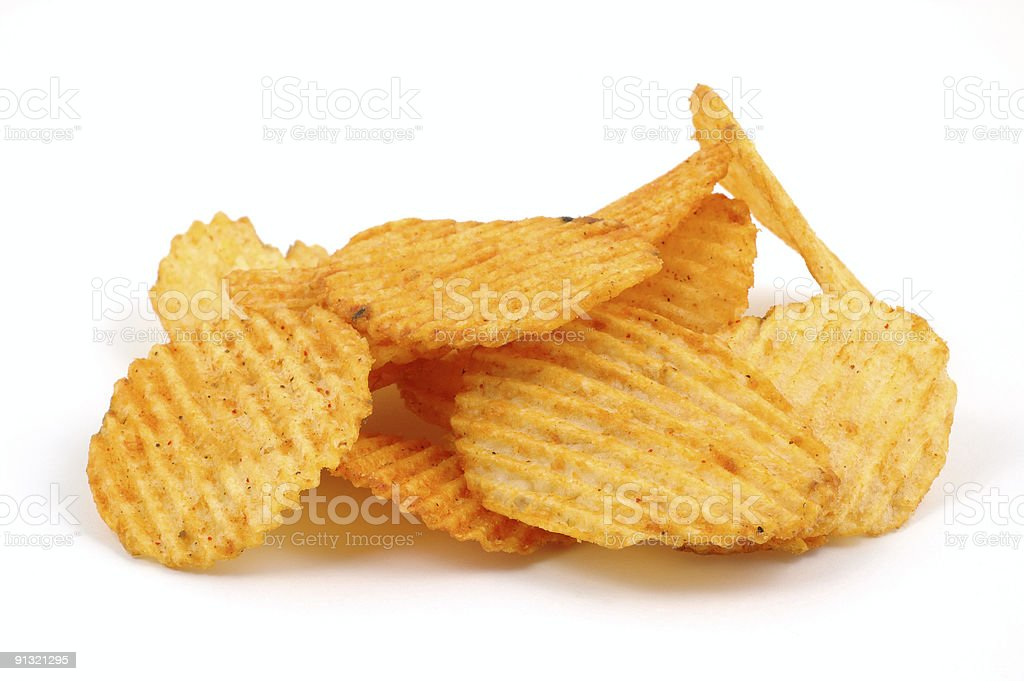 Pile of spicy potato chips stock photo