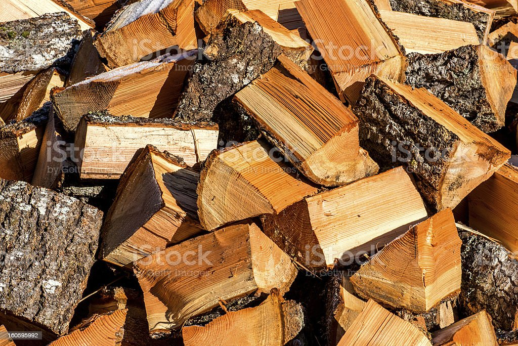 Pile of split firewood royalty-free stock photo