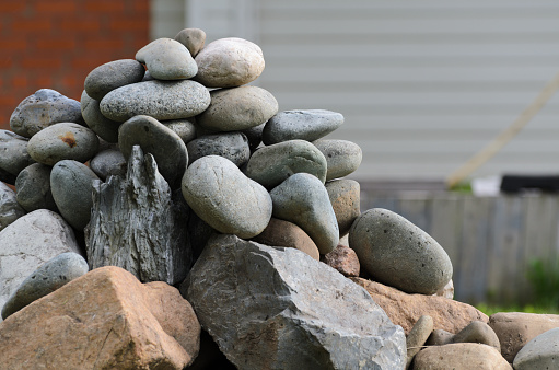 Pile of stones around a dried tree close-up