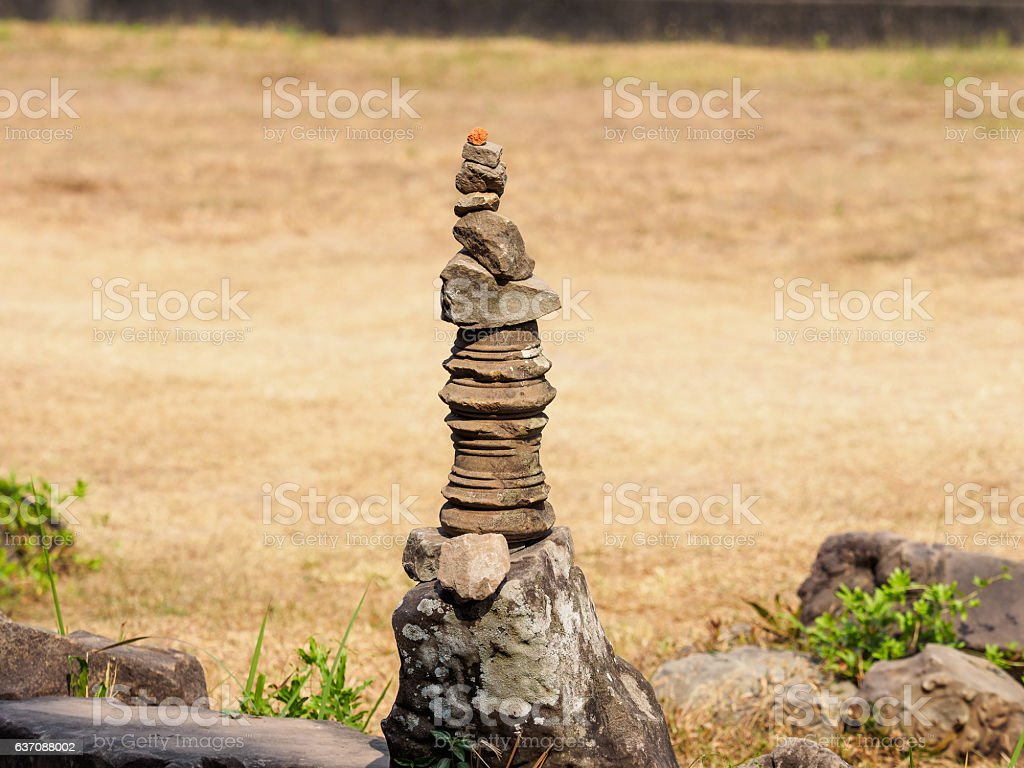 Pile of stones in Angkor Wat, Cambodia stock photo