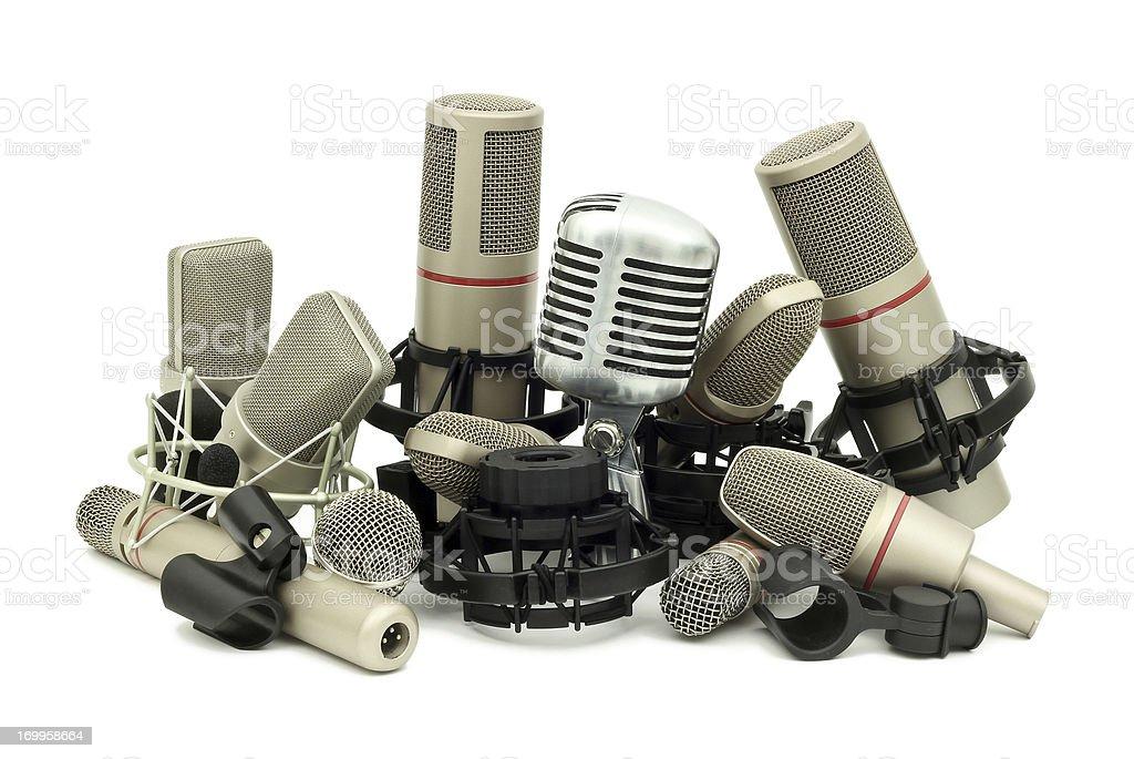 Pile of Studio Microphones stock photo