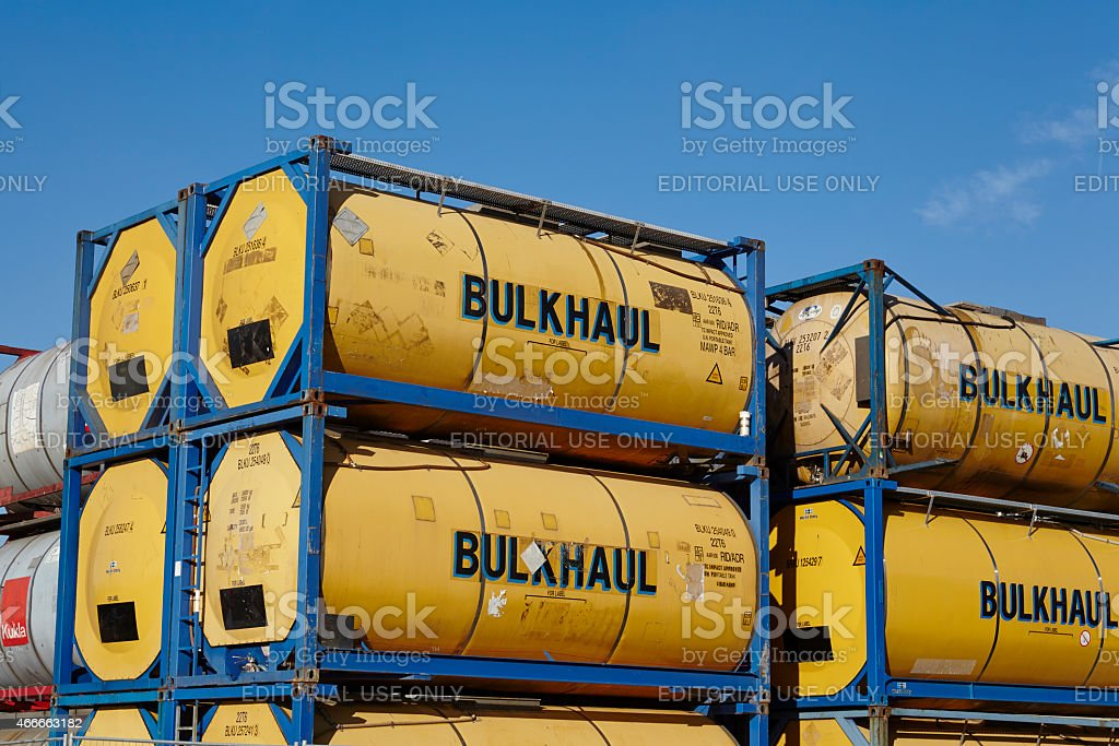 Pile of tank container stock photo