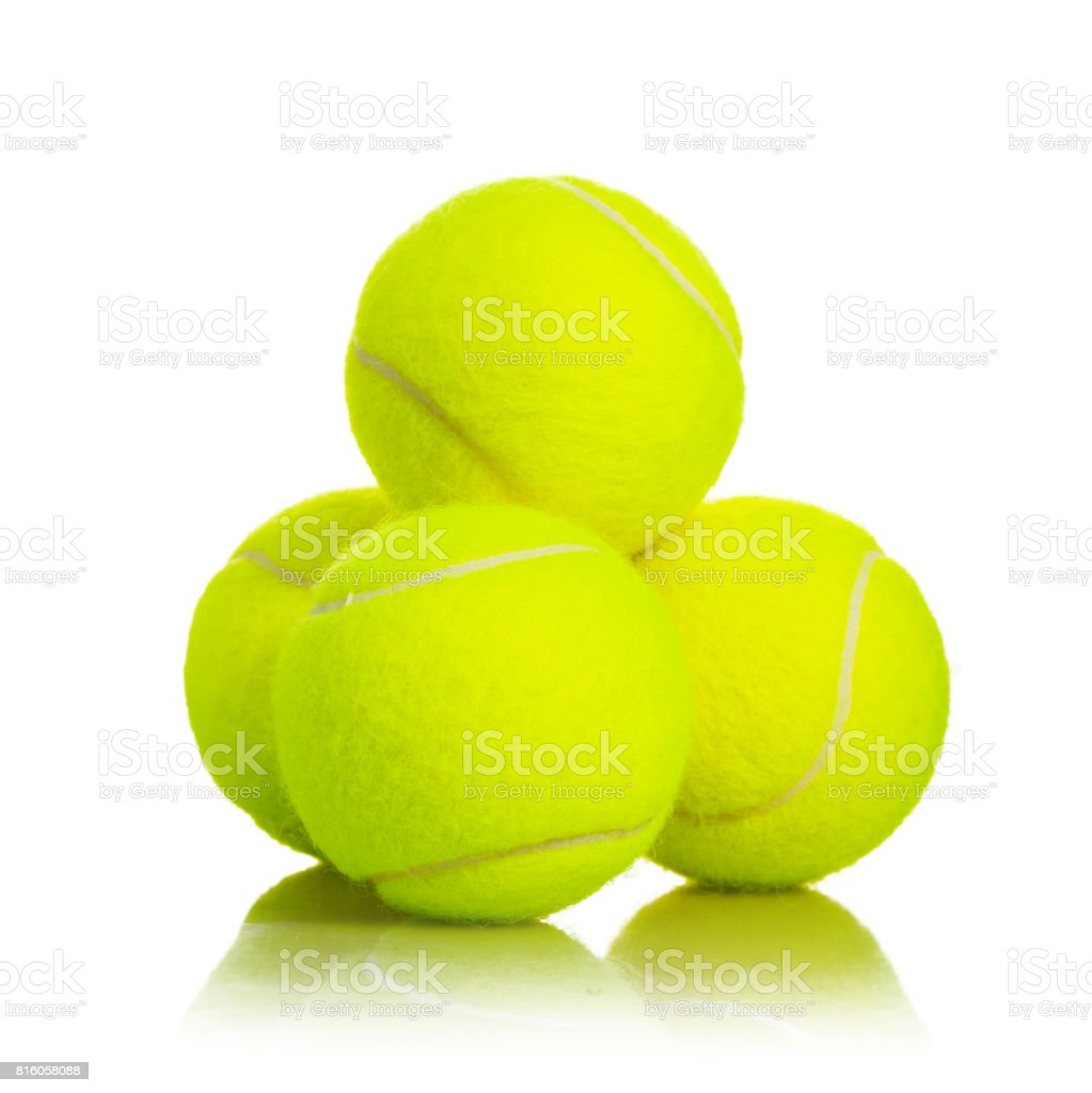Pile of Tennis Balls sport equipment on white background with...