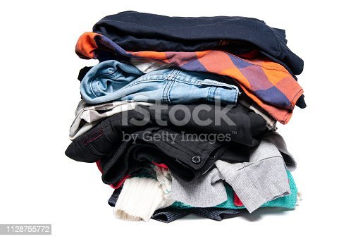 A pile of things on a white background. Badly folded things.