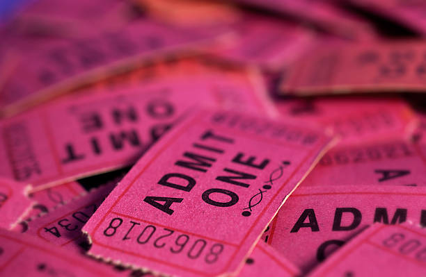Pile of tickets stock photo