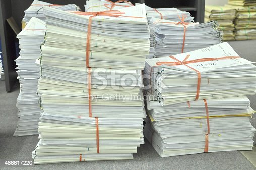 istock Pile Of Tied Office Paper Ready For Storage 466617220