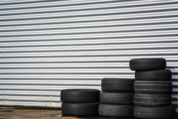 Pile of tires stock photo