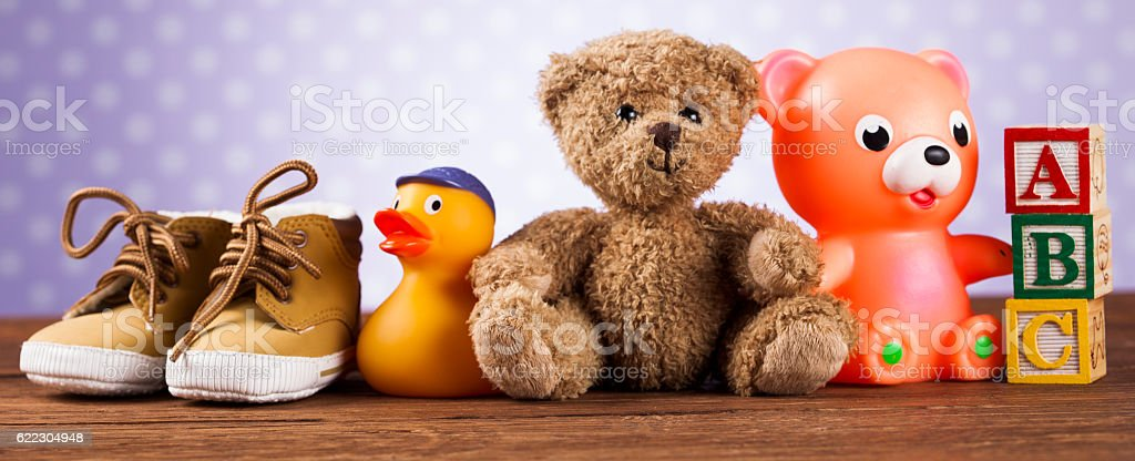 Pile of toys, collection on wooden background – Foto