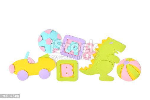 istock Pile of toys paper cut on white background 806160080