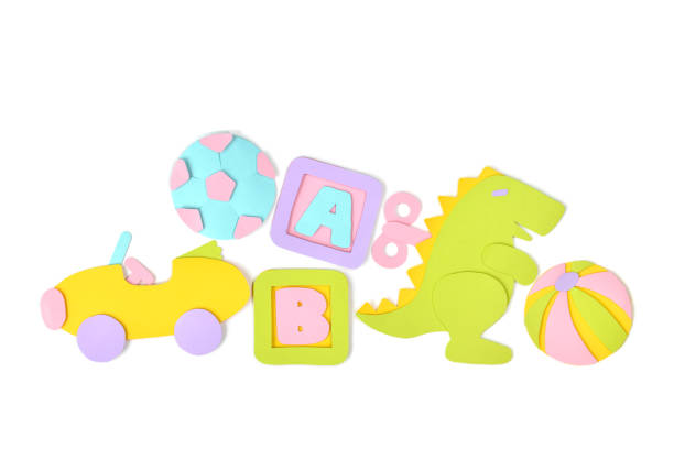 Pile of toys paper cut on white background stock photo