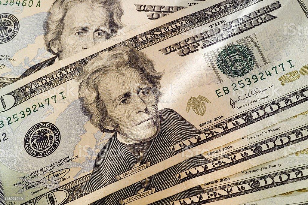 Pile of twenty dollar bills royalty-free stock photo