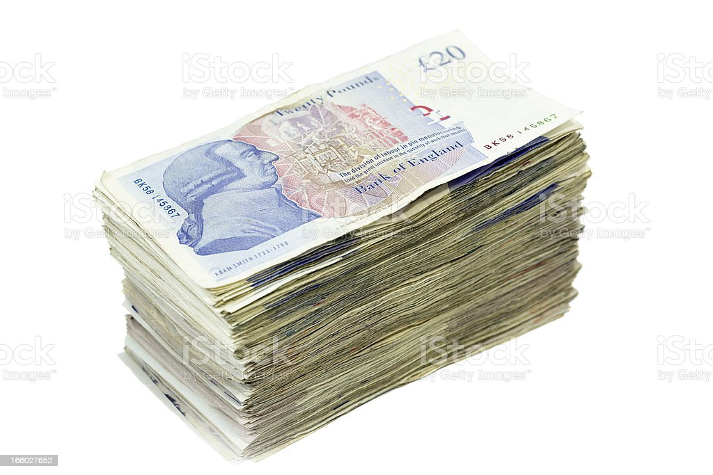 Pile of Twenty Pound Notes stock photo