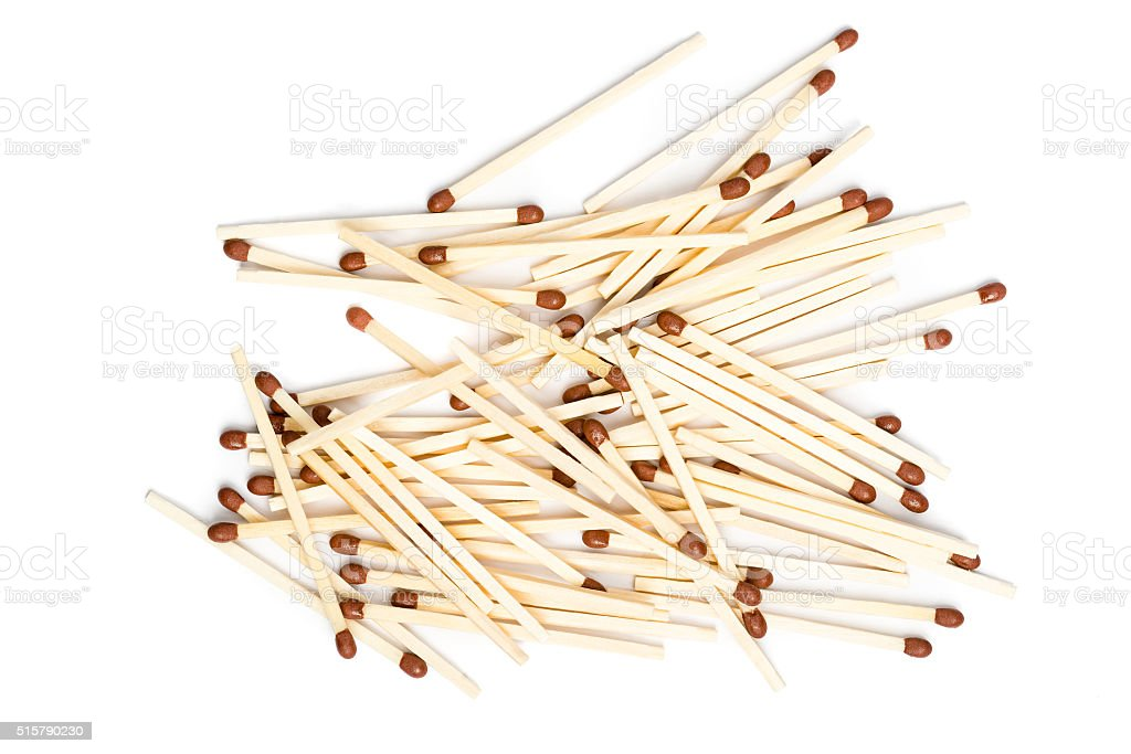 Pile of unused matches stock photo