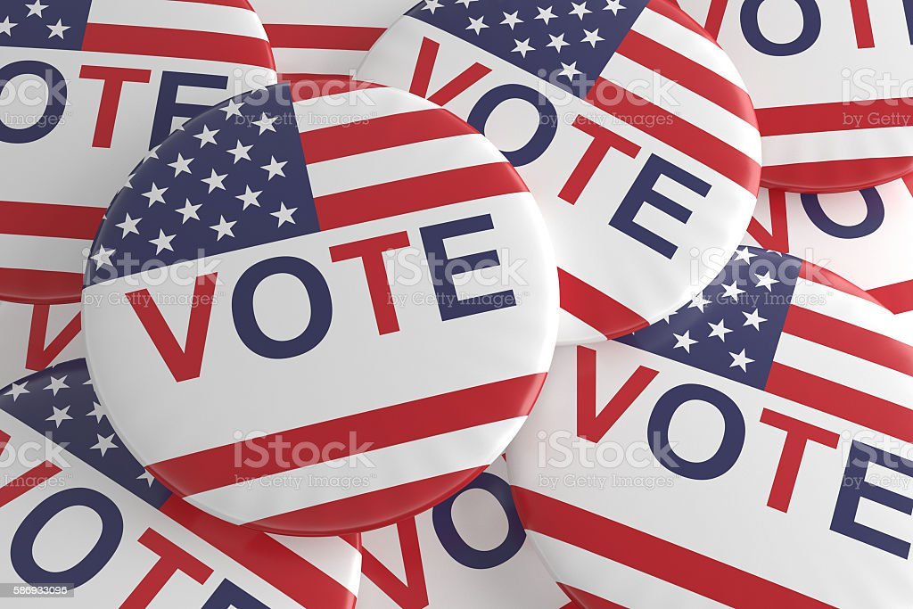 Pile of US Election Vote Badges, 3d illustration stock photo