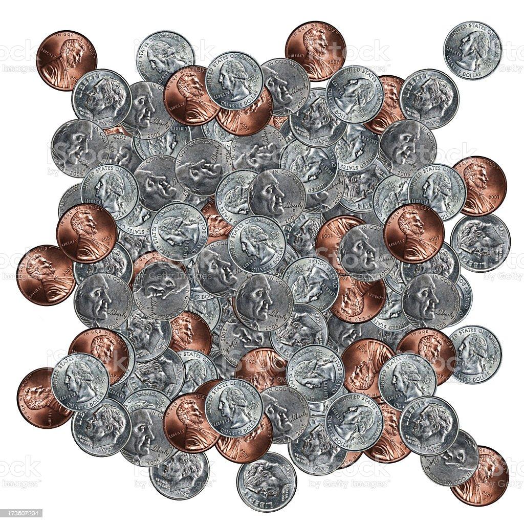 pile of usa coins white isolated XXXL royalty-free stock photo