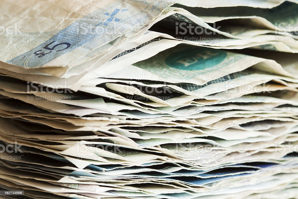 Pile of used banknotes. stock photo